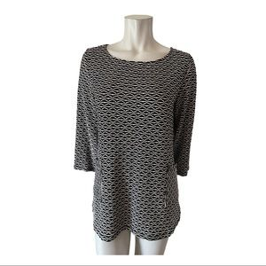 Papillon Blanc Black and White Textured Top Size L